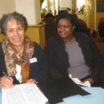 Volunteer on reception at the Homeless Drop-In Centre