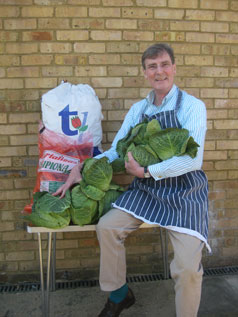 Vegetables for service user lunches generously donated by local charity Vision of Love