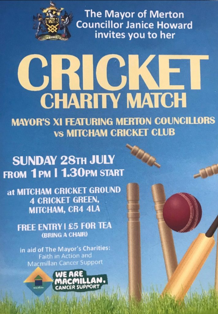 Mayor's Charity Cricket Match poster